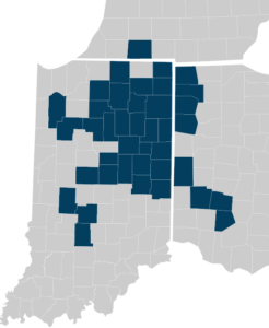 County map of Indiana, Ohio, and Michigan